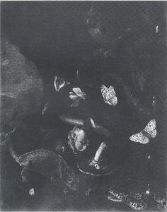 Bosstilleven met kardinaal vogel, hagedis, slang en vlinders