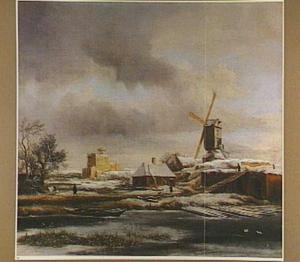 Winterlandschap met molen en huis in aanbouw