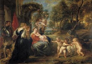 Landschap met de rust tijdens de vlucht naar Egypte en enkele heiligen