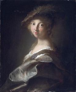 Halffiguur van een jonge vrouw in fantasiekostuum