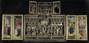 Het huwelijk van Maria en Jozef, de annunciatie (binnenzijde linkerluiken); De geboorte, de aanbidding der Wijzen, de presentatie (middendeel); De vlucht naar Egypte, Christus' dispuut met de geleerden in de tempel (binnenzijde rechterluiken); God de Vader (binnenzijde rechter bovenluik); De kroning van Maria (binnenzijde linker bovenluik)