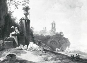 Pastoraal landschap met een herderin en haar diere