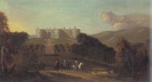 Gezicht op Chirk Castle op de voorgrond elegant geklede figuren te paard
