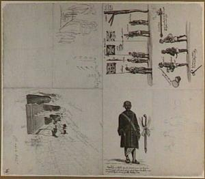 Schetsboekblad: Ontvangst van de gezanten van de koning van Kandy; Singalese soldaten; Nicolas Dias, de tolk van de Gouverneur op Ceylon