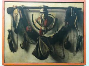 Trompe-l'oeil met jachtattributen en borstbeeld