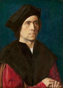 Portret van een man met zwart fluwelen baret
