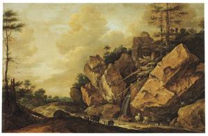 Berglandschap met geiten en herten bij een waterval, een dorpje in het verschiet