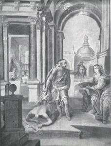 De onthoofding van Johannes de Doper; Salome met het hoofd van Johannes de Doper voor koning Herodes