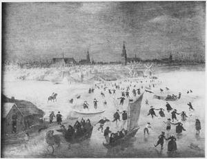 Winterlandschap met gezicht op Amsterdam vanuit het zuiden