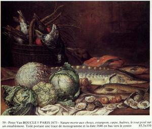 Stilleven met vis, gevogelte en kolen
