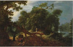 Boslandschap met de goede Samaritaan (Lukas 10: 30-37)