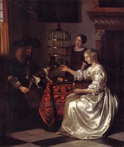 Jonge vrouw, een papegaai voerend in gezelschap van een man en een dienstmeid
