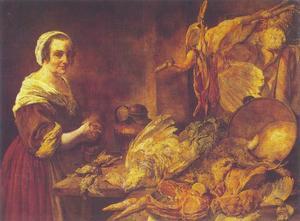 Keukenstilleven met een meid met een kip in haar handen