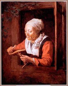 Haspelende oude vrouw