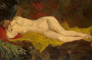 Anne, liggend naakt op gele doek