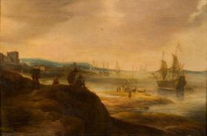 Gezicht op een baai met schepen