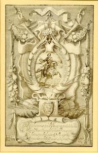 Ruiterportret van Maurits van Oranje- Nassau (1567-1625) in een cartouche
