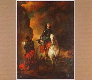 Ruiterportret van een onbekende man, met een bediende