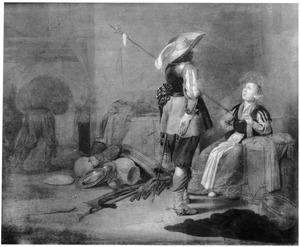Een officier en een rokende jonge vrouw in een wachtlokaal