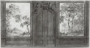 Ontwerp voor twee behangsels met landschappen ter weerszijden van een porte-brisée