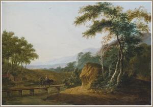 Zuidelijk landschap met twee reizigers op een houten brug