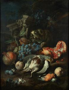Vruchtenstilleven met dode patrijs en mannetjes goudvink