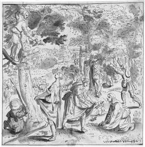 Gezelschap tijdens een spel in een boomrijk landschap