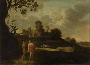 Landschap met arcadische figuren en een ruïne
