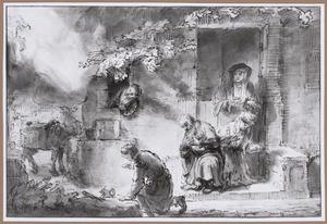 De engel verlaat het huis van de oude Tobias (Tobias 12:21-22)
