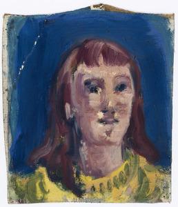 Portret van meisje met gele trui