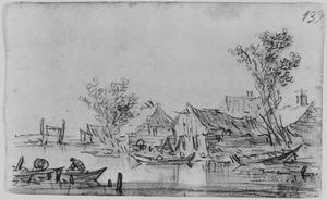 Rivierlandschap met huizen aan de waterkant