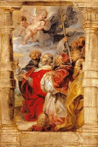 De kerkelijke hiërarchie in aanbidding voor de Eucharistie
