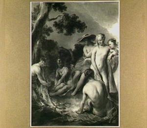 Nimfen en satyrs rond een open vuur