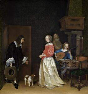 Man die een interieur binnentreedt en een vrouw die hem verwelkomt en andere figuren
