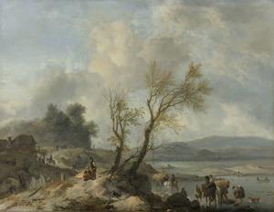 Landweg met reizigers langs een rivier