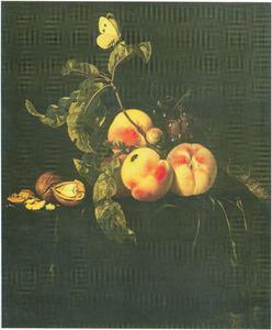 Stilleven van vruchten op een fluwelen tafelkleed