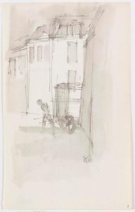 Schetsblad met straatscène