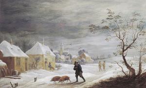Winterlandschap met varkenshoeder