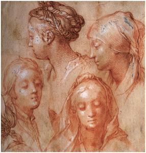 Studie van vier vrouwenkoppen