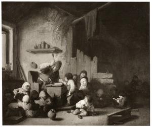 Schoolmeester met zijn leerlingen in een klaslokaal