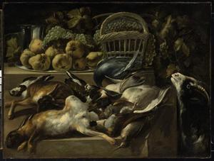 Stilleven met fruit, jachtbuit en een levende geit
