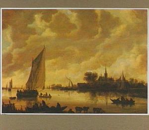 Rivierlandschap met schepen bij een dorp