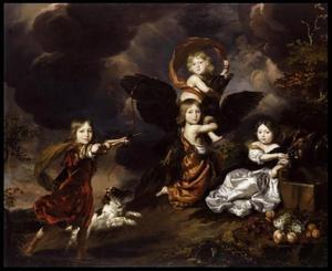 Groepsportret van vier onbekende kinderen als mythologische figuren