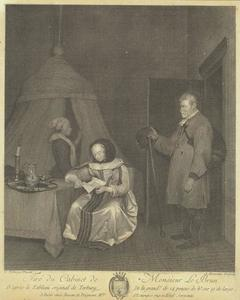 Interieur met een bode, een vrouw die een brief leest en een bediende