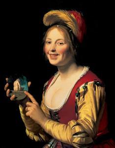 Lachende vrouw met een obscene afbeelding