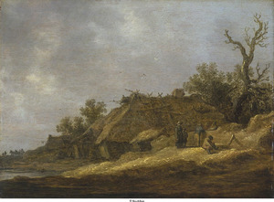 Landvolk bij een vervallen boerderij