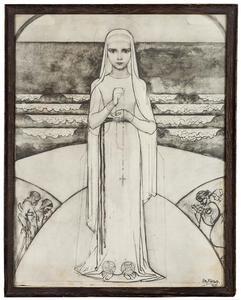 Jonge vrouw met rozenkrans