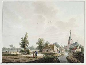 Landschap met gezicht in het dorp Geldermalsen
