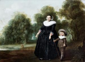Portret van een vrouw en kind in een landschap