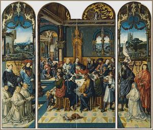 De HH. Laurentius en Sebastiaan met Jacobus en Vincentius Pauw en Petrus Sasz (linkerluik), het Laatste Avondmaal (midden), de HH. Joris en Johannes de Evangelist met Digna Sasz (rechts)
